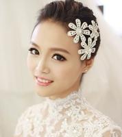3 PC Rhinestone Bridal Flower Barrettes Wedding Hair Accessories Jewelry Crystal Ornamentation For Bride New 2014 WIGO0232