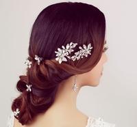 New 8 pcs Set Rhinestone Bridal Barrettes Wedding Hair Accessories Jewelry Crystal Barrette Ornamentation Set For Bride WIGO0231