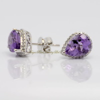 Natural purple crystal stud earring 925 pure silver platinum female silver stud earring elegant noble female