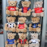New arrival! Free shipping football fan teddy bear/soft plush toy doll with big european clubs team logo football fan souvenir