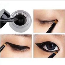 2014 Black Waterproof  Eyeliner Shadow Gel, Makeup Cosmetic Tool For Women+ Brush(China (Mainland))