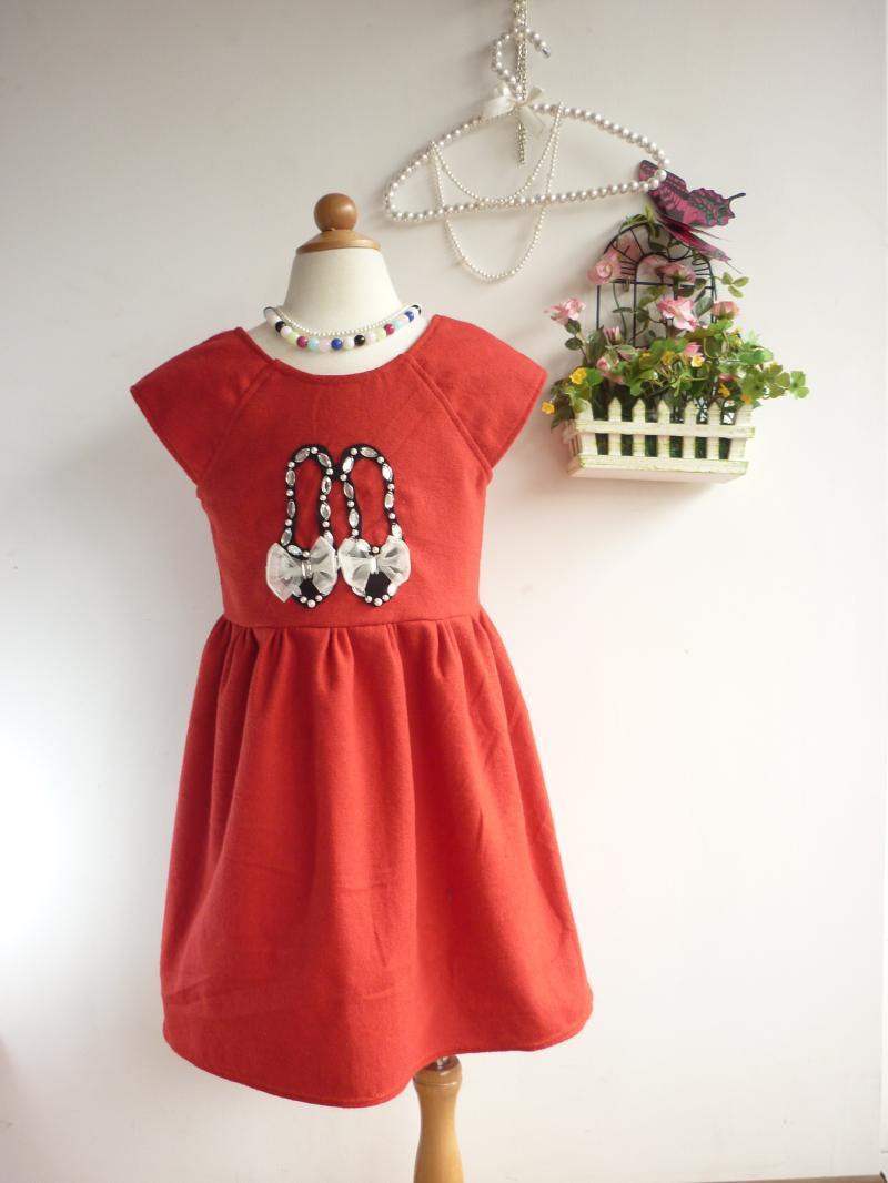 Primavera roupas femininas criança pequena das crianças e no Outono de linho vestido costurar-on sapatos de cristal strass design original(China (Mainland))