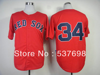Best Quality Baseball Jersey #34 David Ortiz Red Jerseys Embroidery Logos Jersey Cool Base