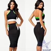 2014 Ladies Fashion New European Design Sexy women Mid-calf Length Bodycon Novelty Bandage SkirtsTops + Skirt Saias Black 20106