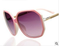 10pcs/lot,wholesale women's fashion sunglasses,classic europe big square frame metal imitation leather leg sunglasses