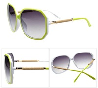 Hot women's fashion sunglasses,classic europe big square frame metal imitation leather leg sunglasses