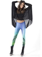 2014 Sexy Plus Size Harajuku Galaxy Digital Printed Black Milk Sport Leggings Leggins Gradient Blue Tree Space Star Pant Fitness