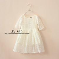 girls white lace dress half sleeves princess dress children lace dress
