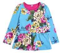 girls blouse floral print girls top long sleeves 2-8 years          children clothing girls fashion dress