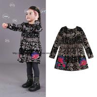 2014 girl dress black retro dress long sleeve girl clothing girls fashion girls brand
