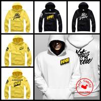 HKPOST NAVI Natus Vincere Game Team white & yellow men hooded sweatshirt spring& autumn coat men's fleece PRO gamer hoode