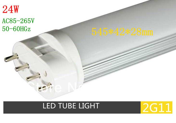 24W Free Shipping LED 2G11 Tube Light 2G11 base led plug in lamp 545MM 2pcs/lot(China (Mainland))