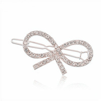 C009 side-knotted clip accessories gentlewomen sparkling full rhinestone bow hair accessory hair accessory hairpin