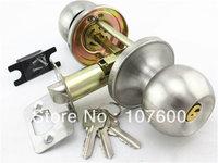 Free shipping ball lock Stainless steel Bathroom door locks, 3 Lever lock  Plastic steel door locks HL1856