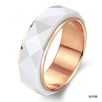 Fashion jewelry gold plated space white ceramic ring female finger ring pinky ring