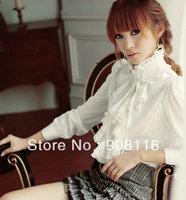 2014 New Hot sale,women fashion plus long casual slim shirts,women Business Dress shirts Top Blouse,White/Black,S,M,L,XL,XXL