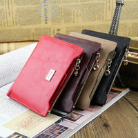 2014 New Oil Wax Leather Zipper Hasp Female Wallet PU Short Design Korean Casual Money Clips Credit Card Holder Woman Purses Red