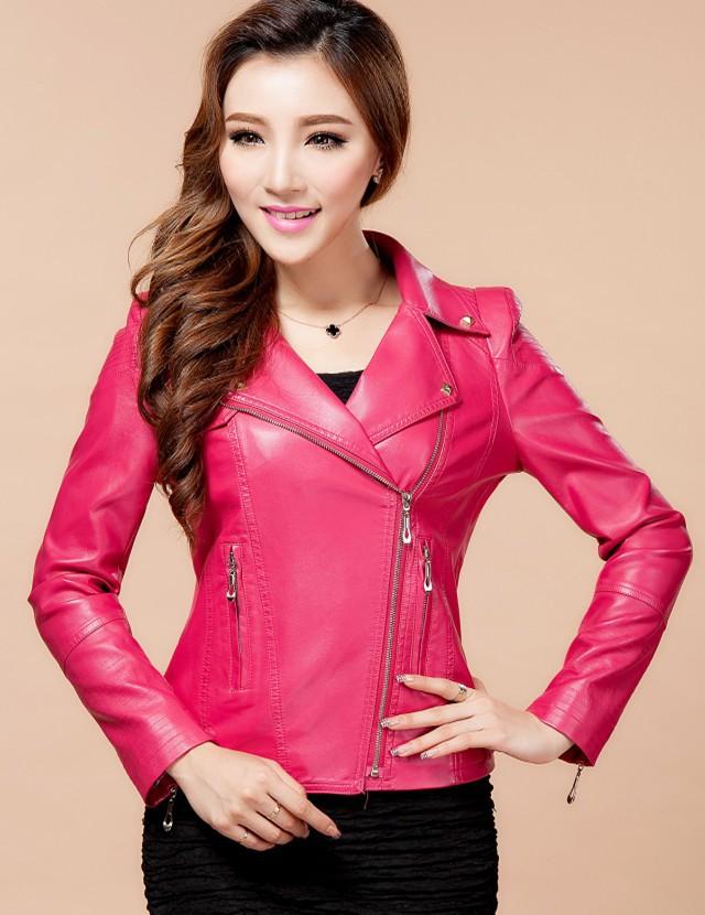 Ladies Pink Leather Jacket