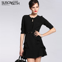Women's 2014 New Arrival Spring Fashion Ol Elegant Black Ruffles Knitted Slim XL XXL Plus Size Knee Length One-Piece Dress