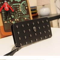 Free shipping new 2014 fashion  long design black skull wallet clutch bag wallet women's bags
