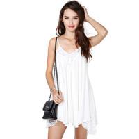 White chiffon spaghetti strap lace patchwork dress roupas femininas designer dress doll women beach dress