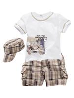 2014 New Arrival Baby Boys Suit O-neck Short Sleeves T shirt + Pocket Decor Plaid Short Pants Kids Suits Child Clothing Hot Sale