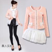 2014 new spring cardigan women's clothes sweet gentle women jacket elegant ruffle lace two ways slim women coat free shipping DX