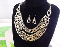 Luxury European design multilayer Chain Golden silver color necklace earrings sets fashion jewelry