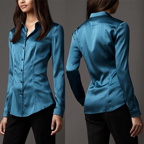 2c9f1491db8464 2019 Wholesale S XXXL Women Fashion Silk Satin Blouse Button Ladies ...