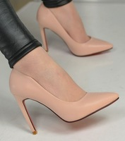 [(My God)] 2014 new spring all-match OL outfit high-heeled personality curved women's pointed toe heel low single shoes