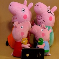 Pink pig sister bear doll dinosaurs pepe pig father mother pig small family pack plush toys [peppa pig family]