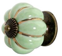 Cartoon Pumpkin Handle Cabinet Cupboard Drawer Ceramic Knob Pulls Green