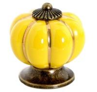7 Colors Pumpkin Ceramic Knob for Kids/ Children, Kitchen Ceramic Door Cabinets Cupboard Yellow Knob and Handles Dia 40mm