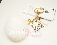 2014 New fashion jewelry women accessories car keychain bag charm pendant 4 leaf rabbit fur ball in white key ring holder kawaii