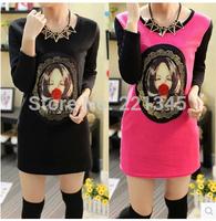 2014 short design turn-down collar long-sleeve t-shirt female fashion loose top patchwork basic shirt