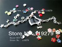 Free shipping! 1 set chrome full rhinestones heart bracelets Locket + 13pcs Floating charms