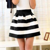 New  women's short skirt knitted black and white stripe puff skirt bhigh waist skirt ust skirt  Free Shipping