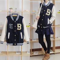 Baseball uniform female  lovers patchwork thickening jacket sweatshirt baseball shirt woolen outerwear
