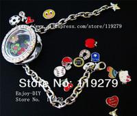 Free shipping! 1 set chrome full rhinestones round bracelets Locket + 13pcs Floating charms