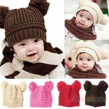 2013 Korean Baby Girls Boys Kids Children Dual Ball Knit Sweater Cap Hats Winter ...