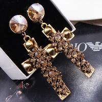 Fashion oversized cross gem stud earring vintage fashion big earrings earring