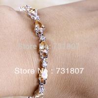 Wholesale Sparkling Morganite & White Topaz  Silver Bracelets Fashion Stone Jewelry For Women Free Shipping