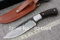 Handmade Damascus Forged Steel Hunting Ebony Handle Knife D82