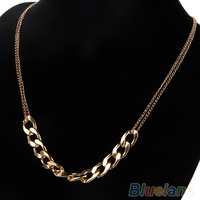 Hot New Charm two layer Chains Metal Plated Gold Circles Collar Pendant Necklace for Women Luxury 04A5