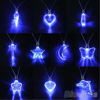 LED Blue Magnetic Light Charm Pendant Necklace Xmas Christmas Birthday Dancing Party For Men Women Girl Boy 03GE