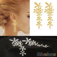 Women 2015 New Fashion Full Rhinestone Crystal Long Snowflake Flower Dangle Drop Tassel Earrings Gold Silver Sale 03HY