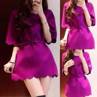 Fashion women dresses 2014 spring autumn beautiful petal fashion ol elegant one-piece dress wave 1825#