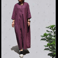 [LYNETTE'S CHINOISERIE - Sang]  Trend chinese national style plus size stripe linen spring autumn half sleeve long dress