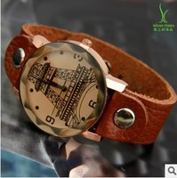free shipping new 2014 hot sale Eiffel Tower Fashion brand ladies Quartz watch genuine Leather Strap women dress casual watch