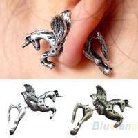 2015 New Retro Vintage Women Men Fashion Punk Ear Stud Cute Unicorn Horse Earrings Running Horse Earring Silver  Bronze 042X